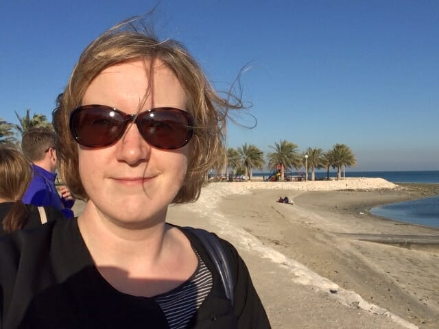 Hair blowing in the wind on the seafront with my colleagues
