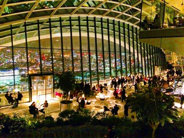 View across the Sky Garden at Fenchurch street.