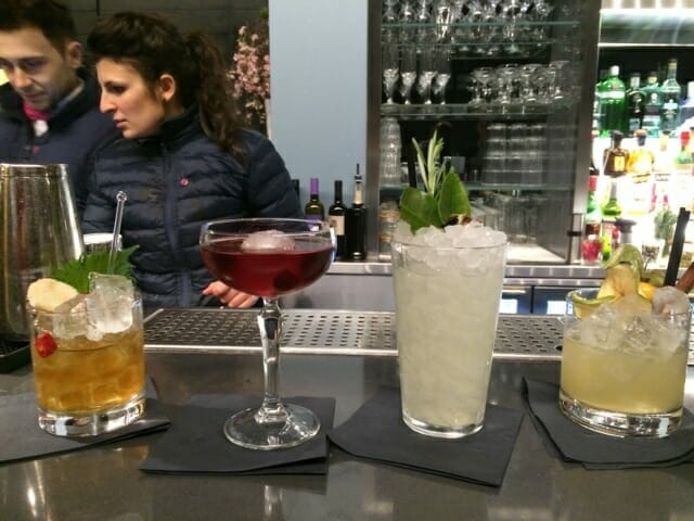 4 different cocktails on the bar