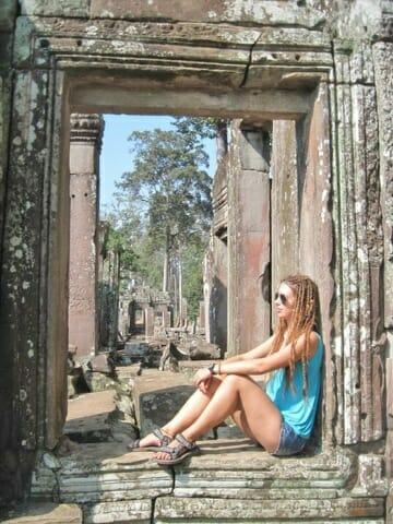 Sue at Angkor Wat in Cambodia