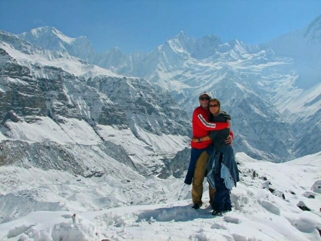 Sue and her Dad at Annapurna Base Camp