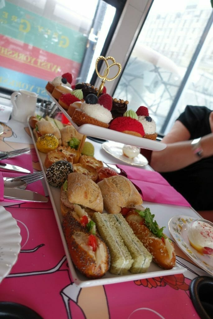 The full selection of food on the B-Bakery bus tour tea