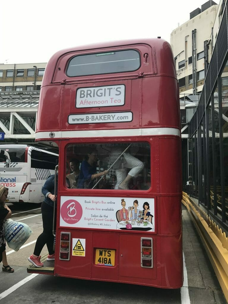 The old red routemaster bus that Brigit's Bakery use for their afternoon tea bus tours