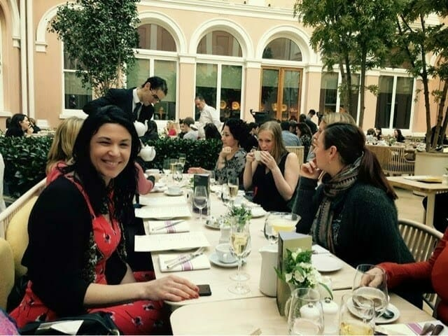 The girls at afternoon tea in the courtyard of the Wallace Collection
