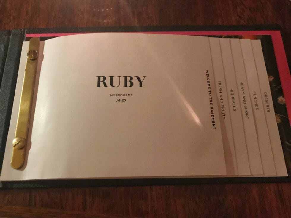 The Ruby Cocktail menu