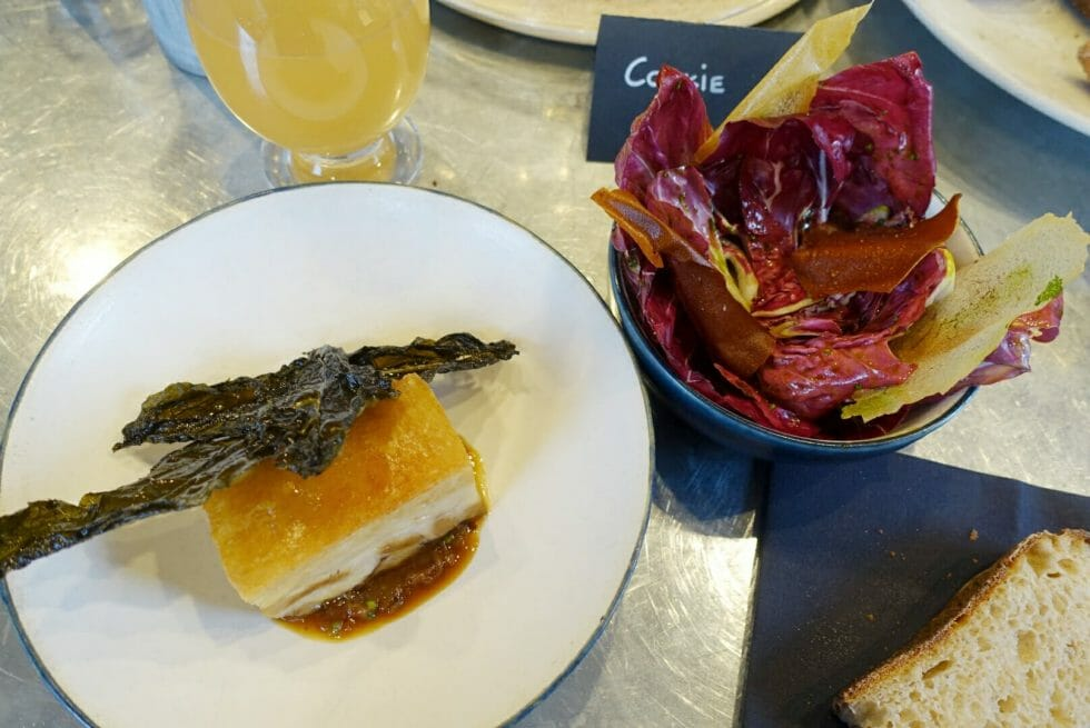 Overview of pork belly and its accompanying salad
