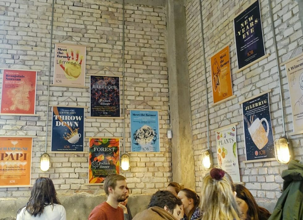 An industrial feel inside the corner cafe