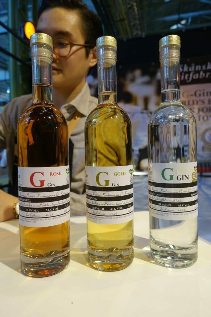 Rose, Gold and Dry gins from Skanska Spritfabriken