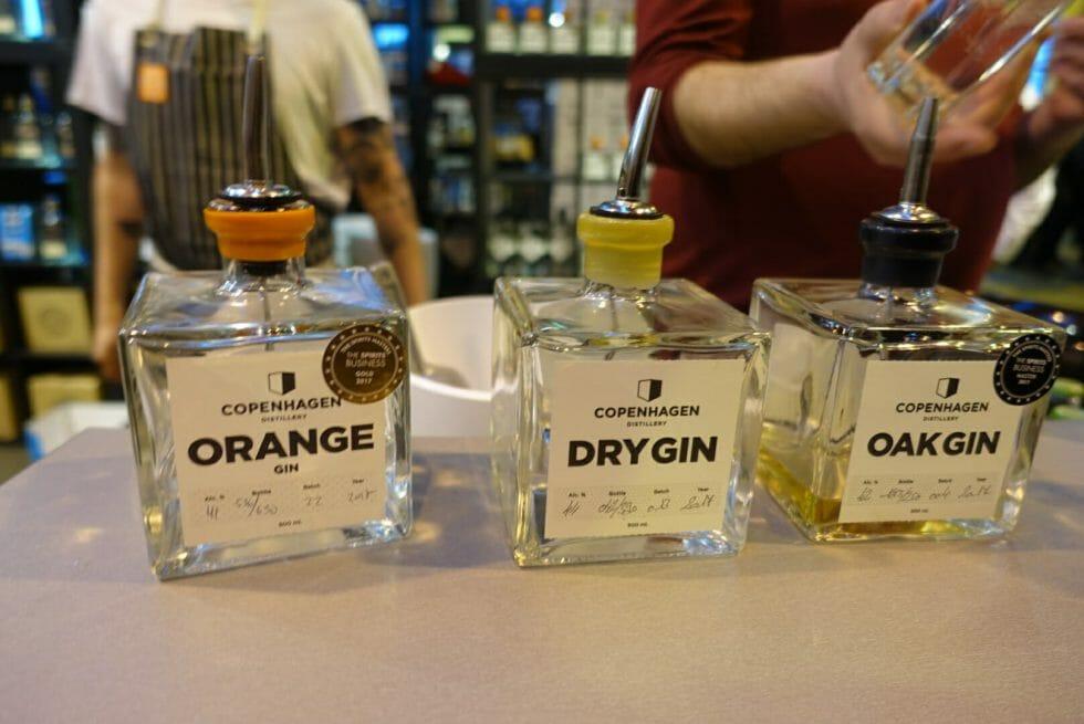 The Copenhagen gin line up - Orange, Dry gin and Oak aged gin