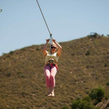 Katie on the zip-line