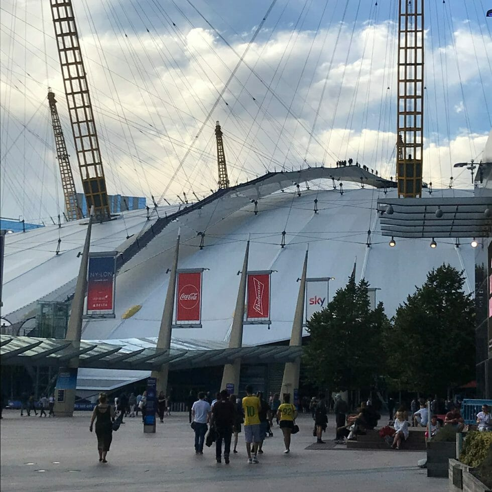 View of the O2 domed roof from ground level