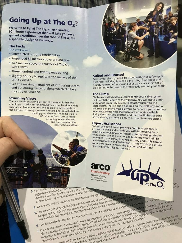 The briefing notes for Up at the O2