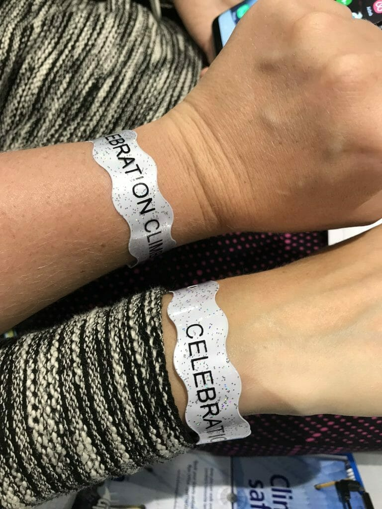 Our special wristbands for the glass of bubbles at the top
