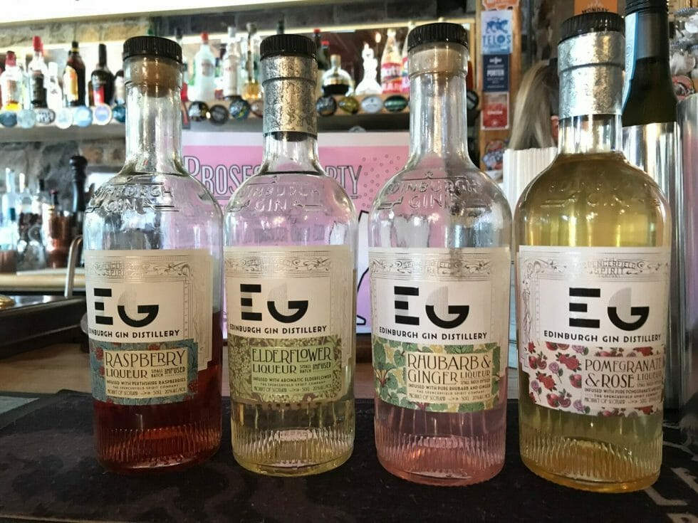 The Edinburgh gin liqueur line up - classics Raspberry, Elderflower, Rhubarb & Ginger and new Pomgranate & Rose