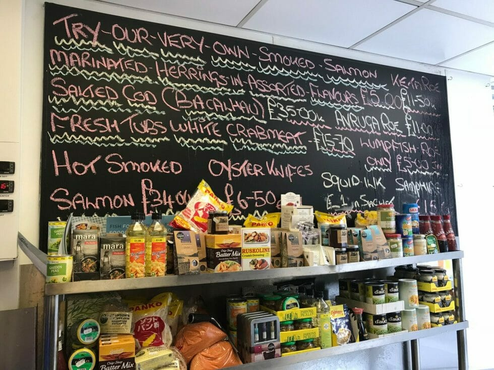 The board at the fishmongers - plenty of fish and seafood to try!