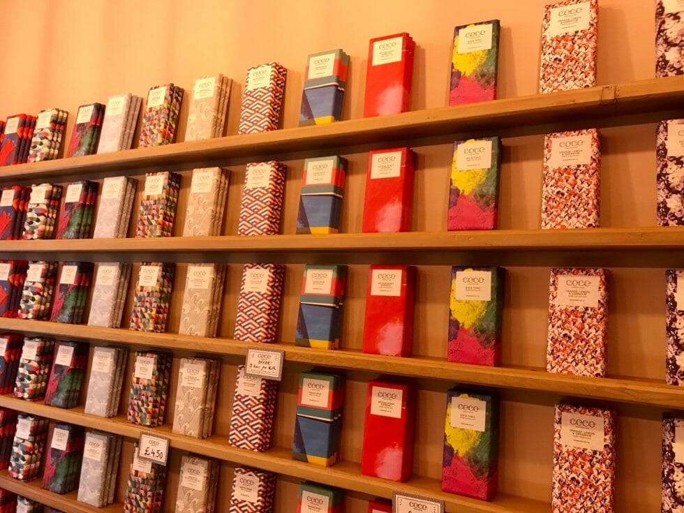 The wall of chocolate bars in designer packaging