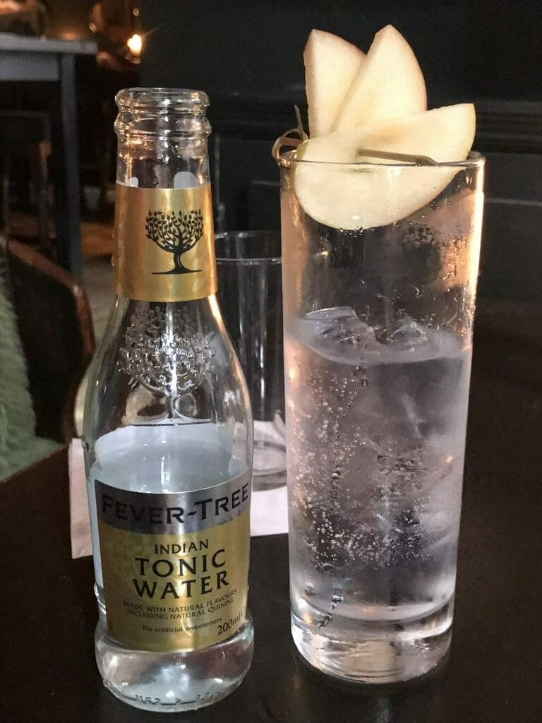 My Caorunn and tonic served with apple garnish