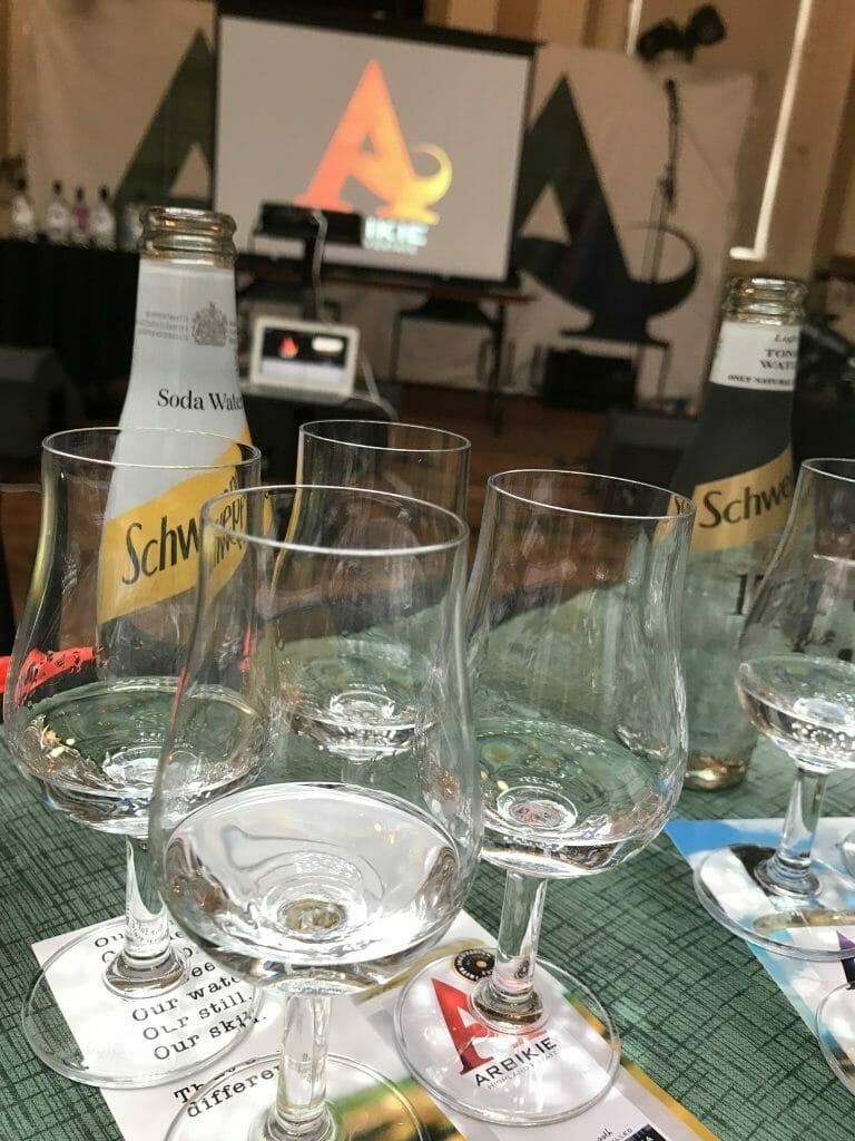 The four glasses of spirit ready to taste