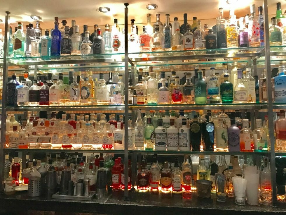 The back bar at 56 North - floor to ceiling gin, impressive!