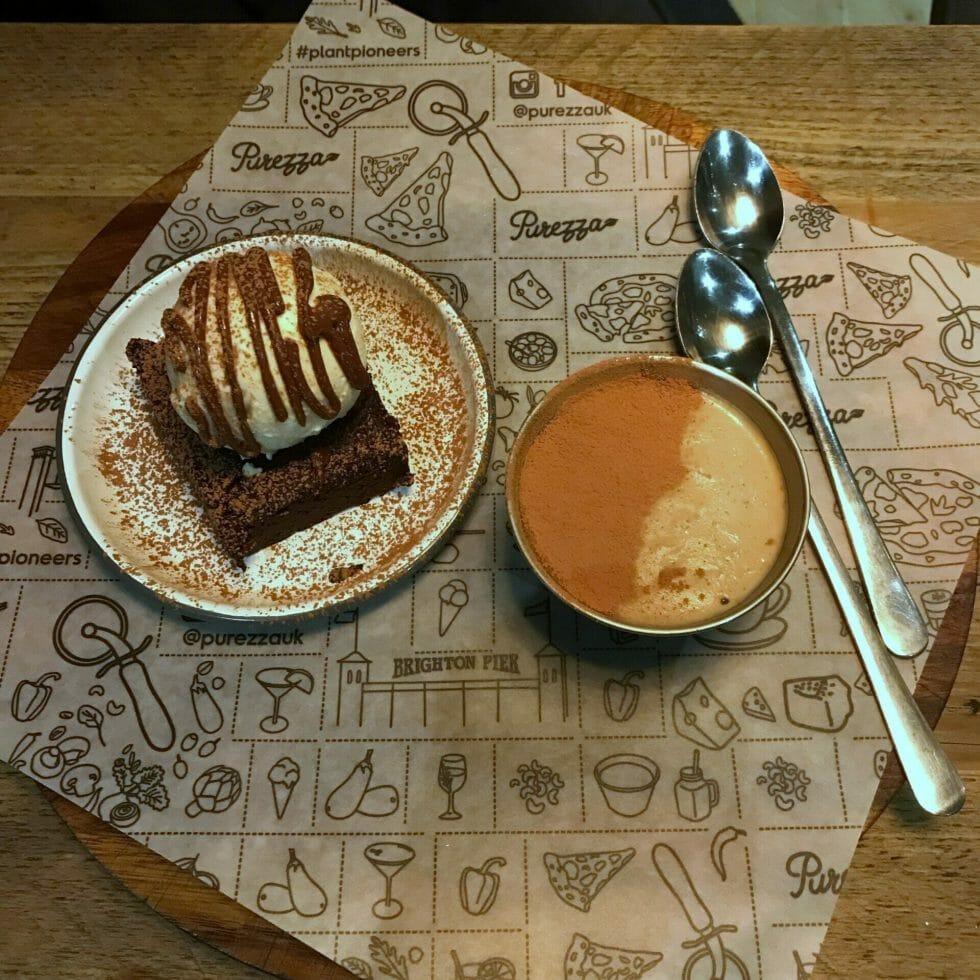 The chocolate brownie with ice cream and raw tiramisu desserts