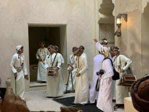 Traditional Omani dress includes the ceremonial dagger, the khanjar, strapped at the waist.