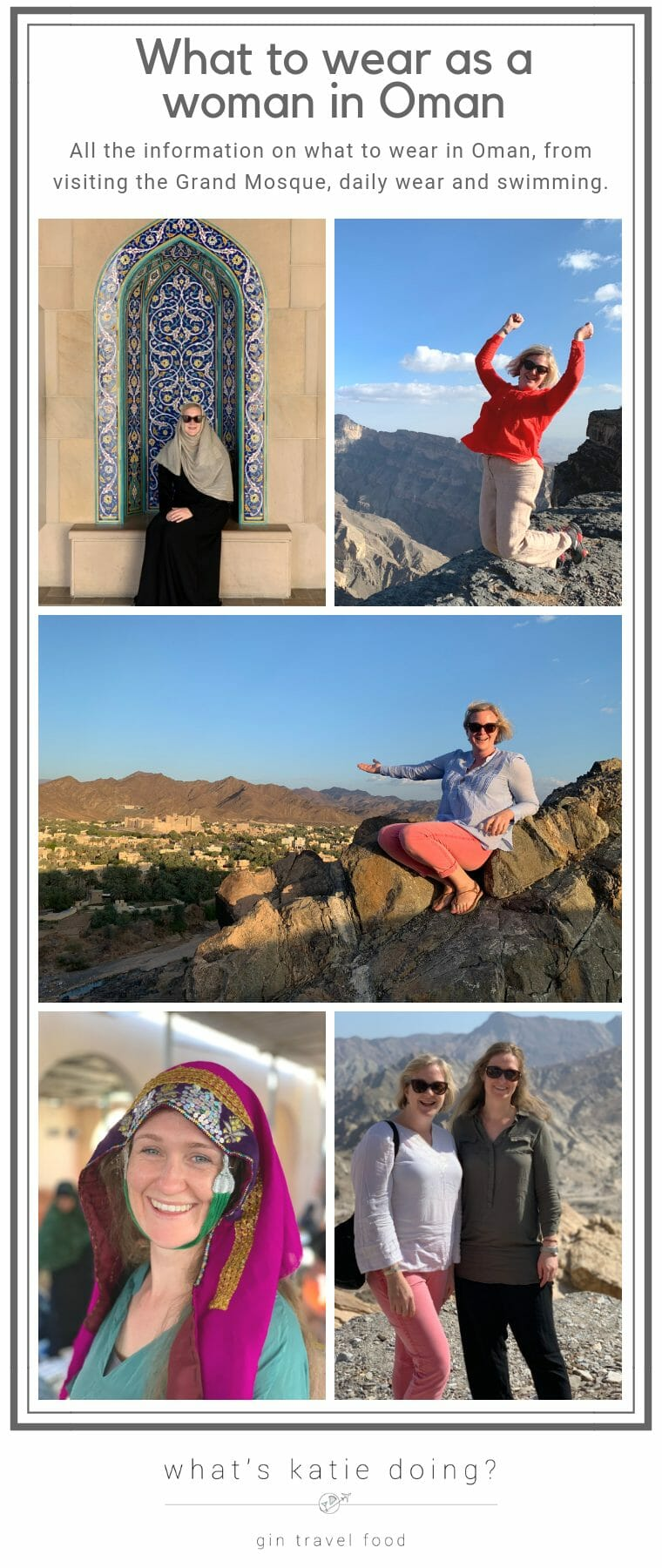 What to wear as a woman in Oman. From daily wear, to visiting the Grand Mosque, etiquette when swimming and traditional clothes