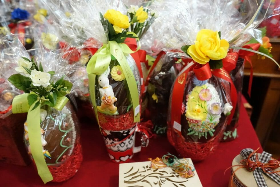 Chocolate Easter eggs in the sweet shop
