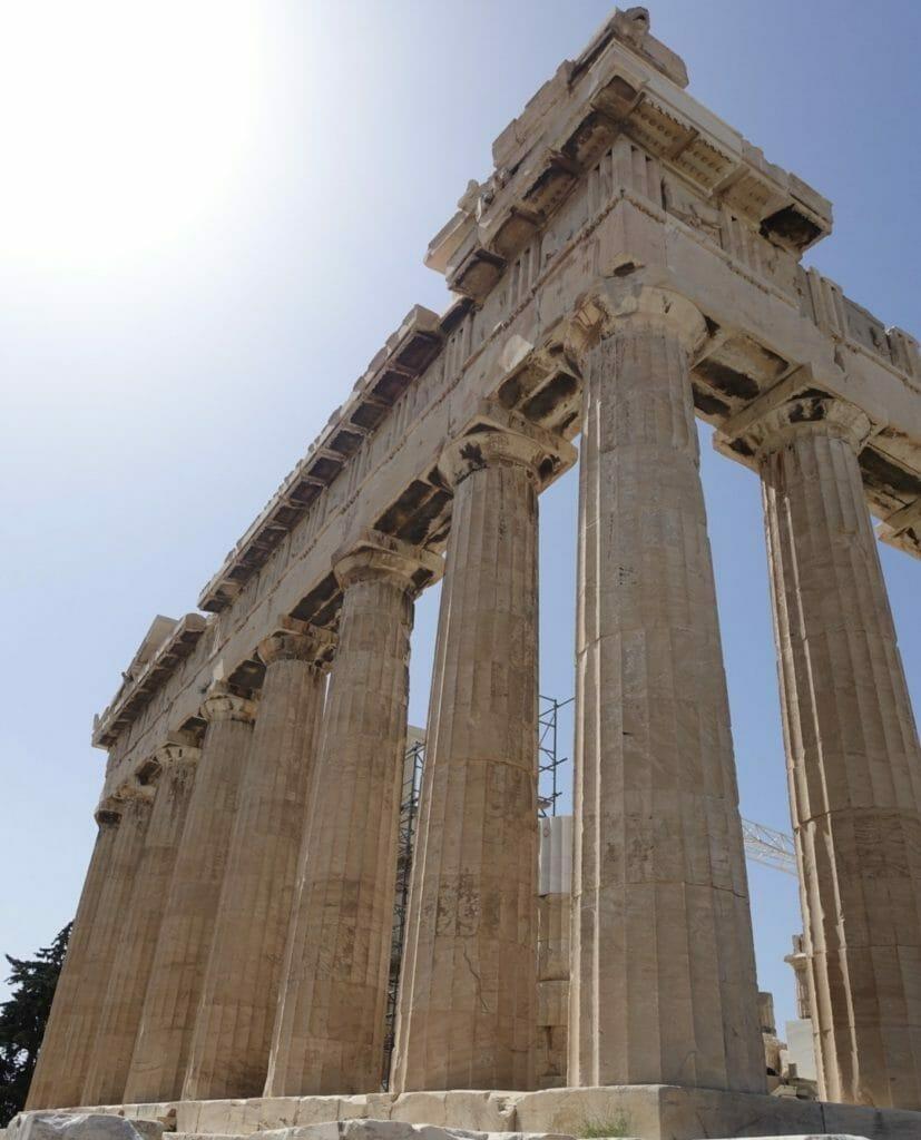 The Parthenon with sunburst