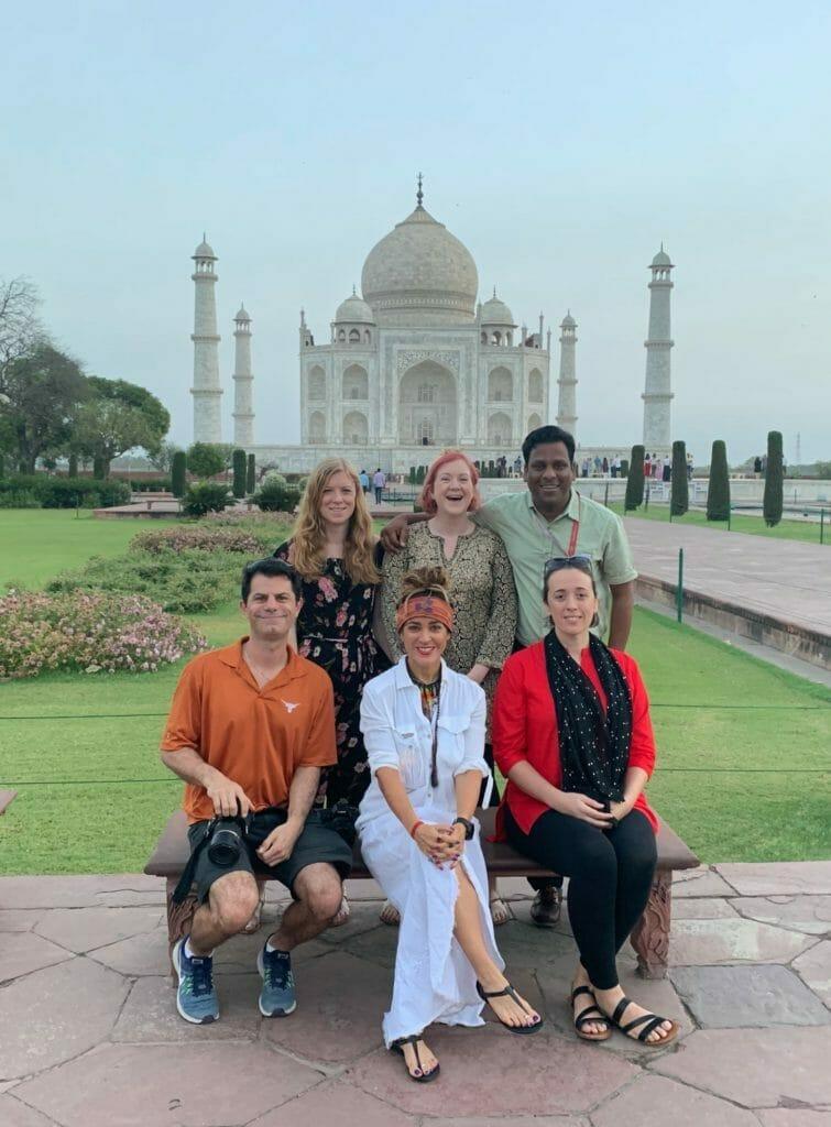 Katie and Flash Pack group at the Taj Mahal