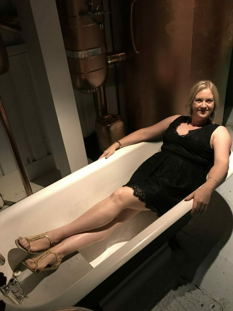 Katie sitting in the bath at Juniper Manor (because I bathe in gin - don't you?)