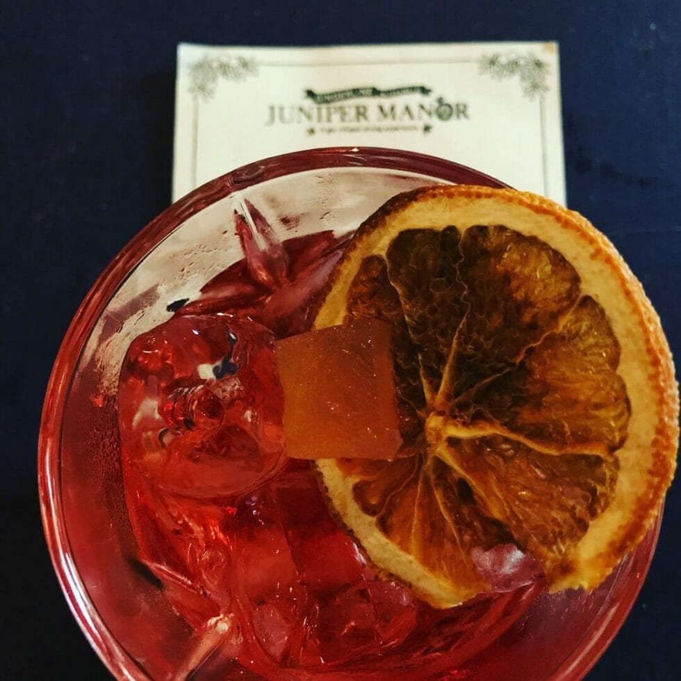 Close up of a cocktail with dried orange garnish from Juniper Manor