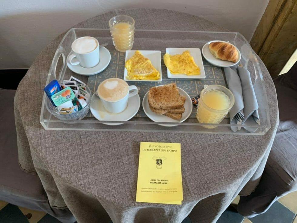 Breakfast tray in our room at La Terrazza sul Campo