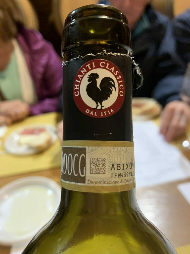 The bottle label showing the Chianti Classico black cockerel motive