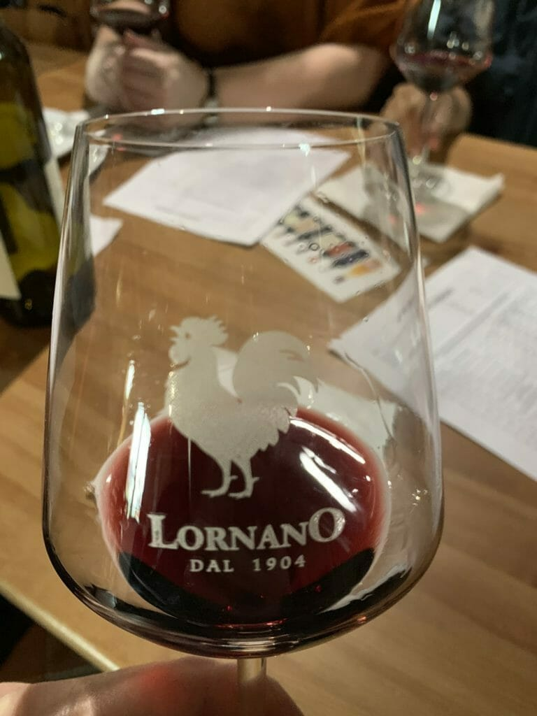 Lornano branded wine glass used for the tasting