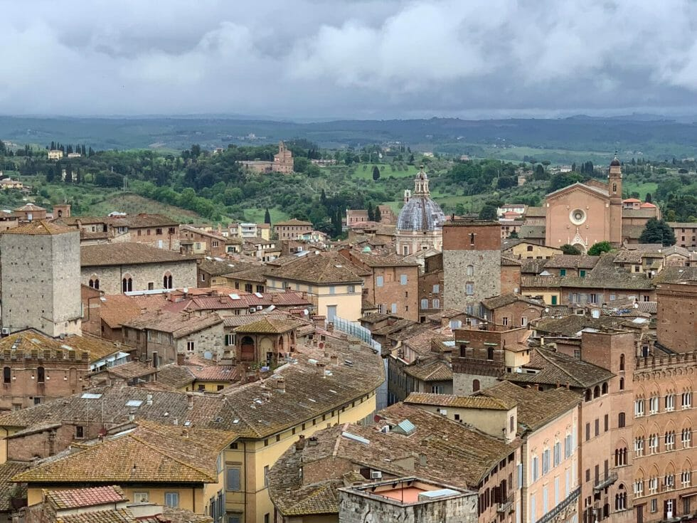 View over the Sienese rooftops to the countryside around