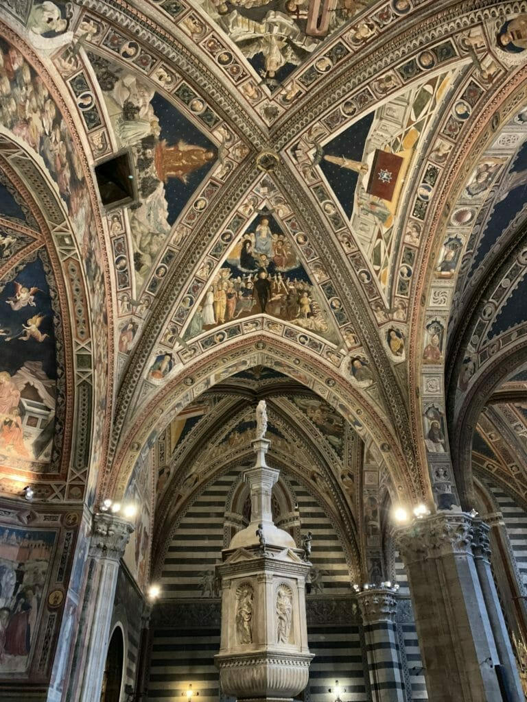 Looking at the stunning ceiling in the baptistry