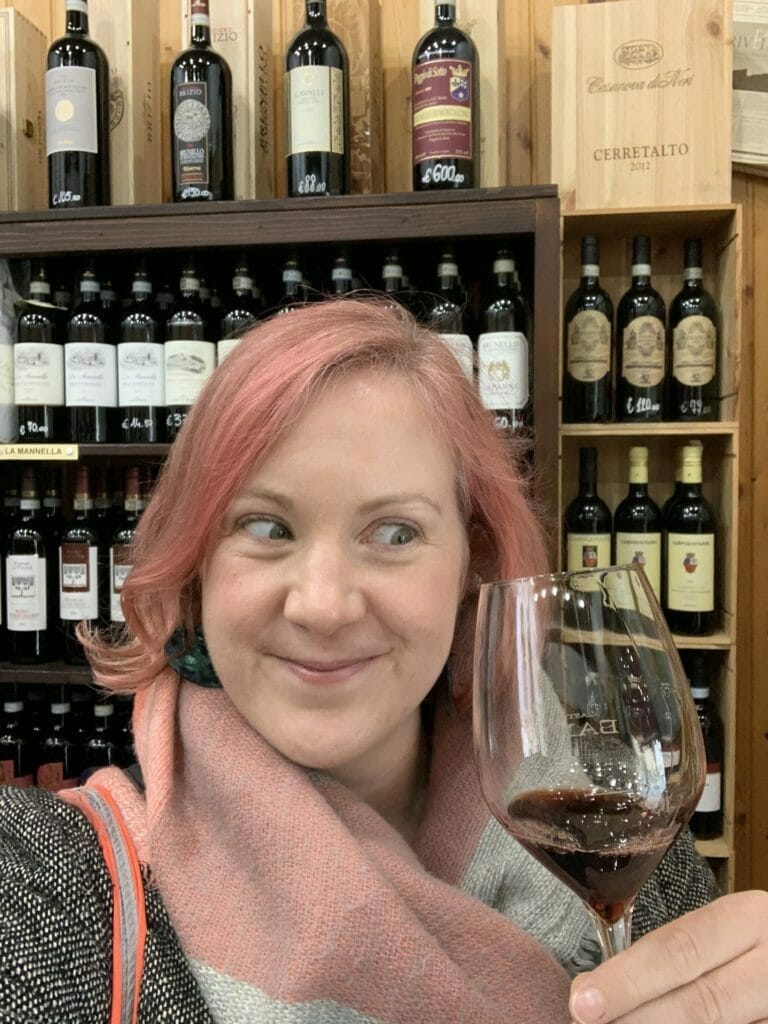 Katie with her eyes on the Brunello glass