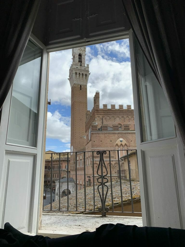 VIew of the tower in the Campo from bed