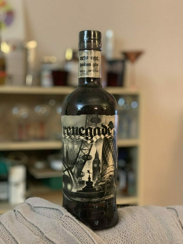 Renegade gin bottle with tattoo inspired label design