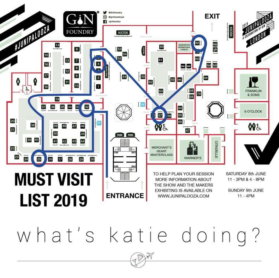 What's Katie Doing? top five route map for Junipalooza 2019