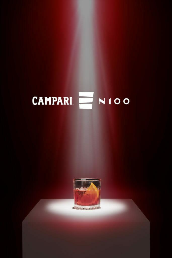 Campari N100 logo and negroni glass