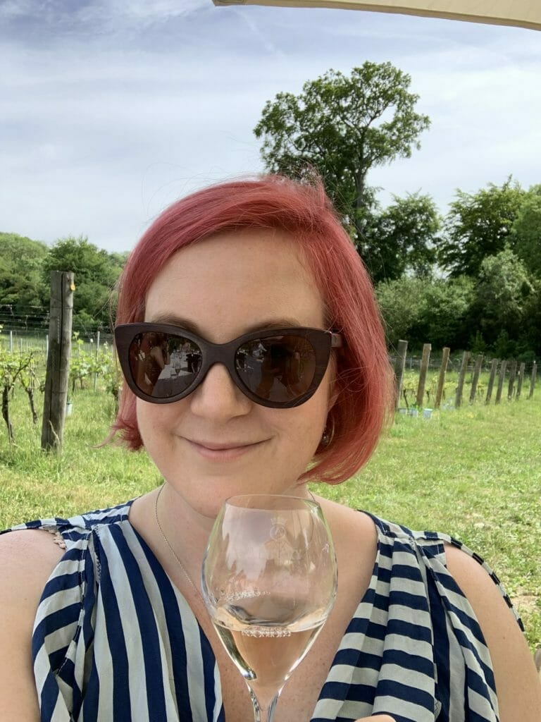 Katie with her glass of rose