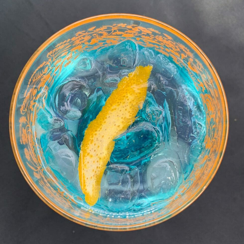 Top down view of the blue Silent Pool gin glass