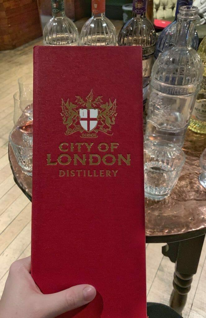 City of London Distillery red embossed menu