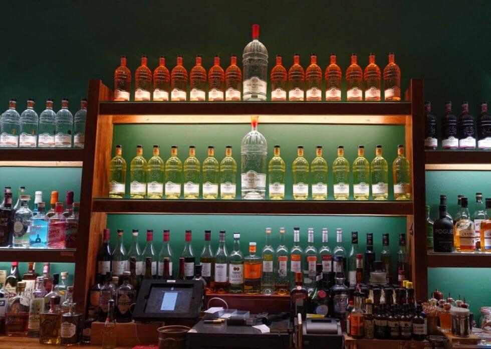 Bar back display lit up at City of London Distillery