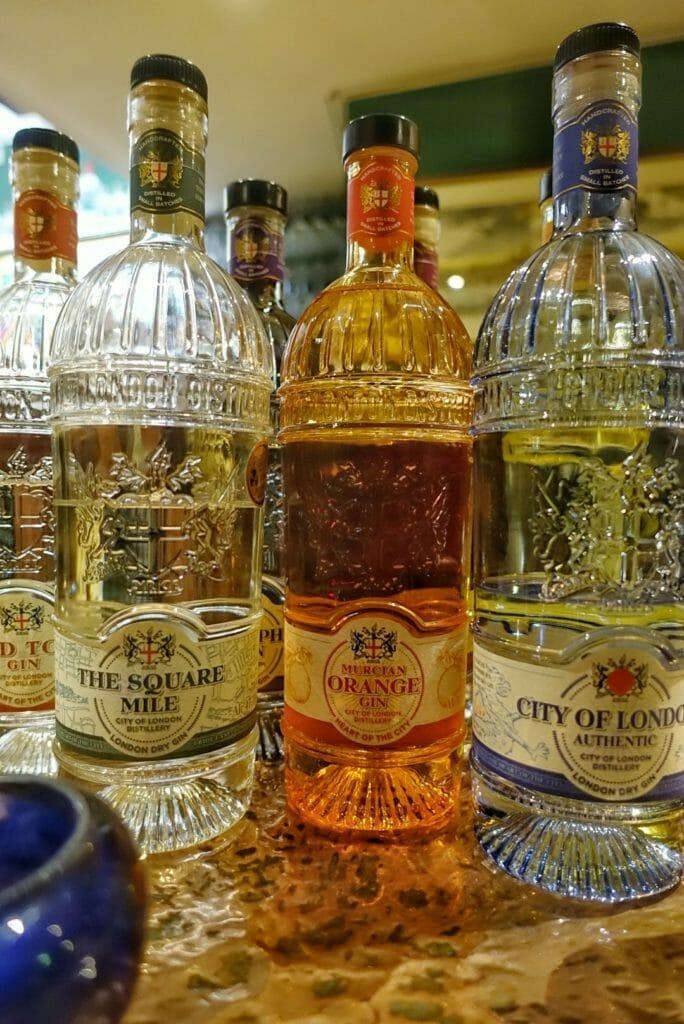 Murcian Orange gin bottle with orange coloured glass