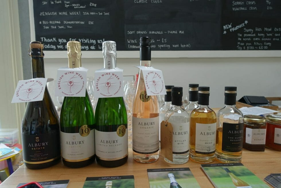 Line up of all the wines, mead and brandy