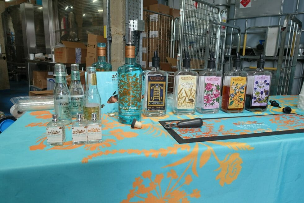 The different Silent Pool gins and liqueurs lined up