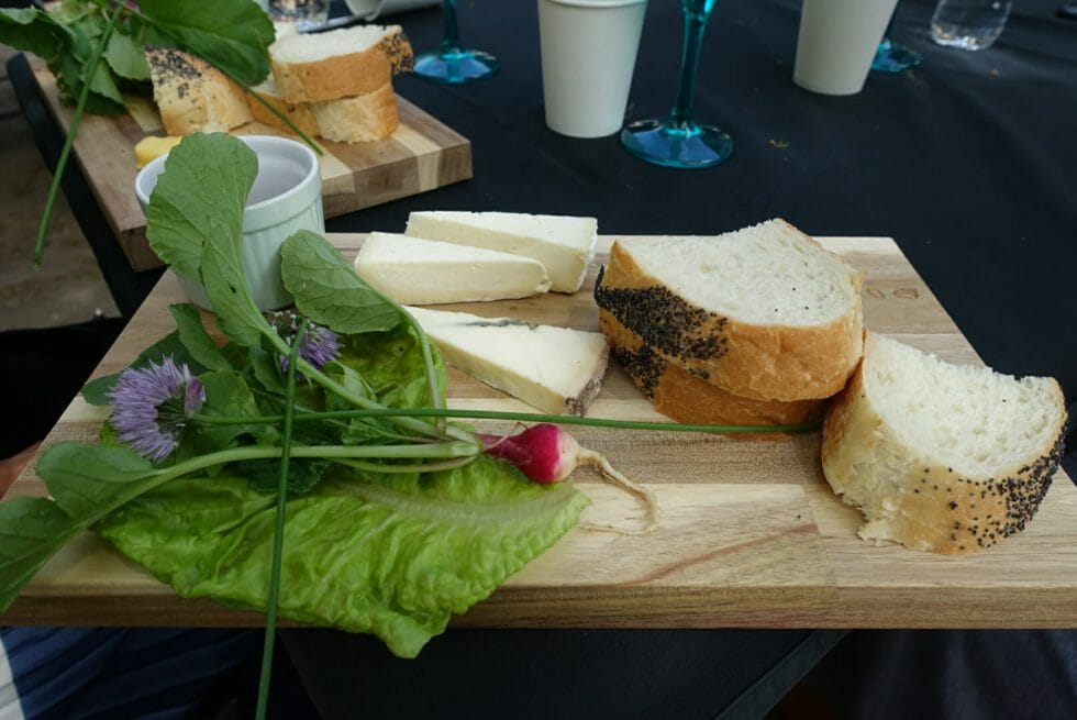 Board with cheese, bread and salad