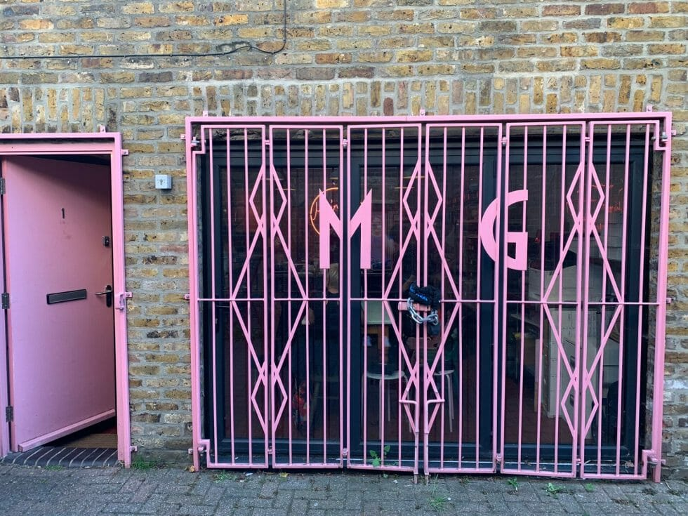 The pink doorway to the Meringue Girls kitchen